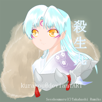 Sesshoumaru_painting practice by kura-ou