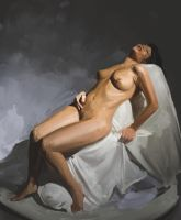 Nude Study in Digital Oils by Firegardensuite