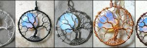 Opalite Moonstone Full Moon Tree of Life Pendants by PhoenixFireDesigns