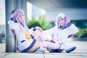 Hyperdimension Neptunia - Nepgear and Neptune by K-I-M-I