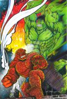 Hulk vs Thing by GraphixRob