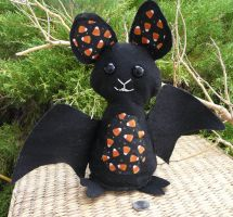 Halloween bat plush with themed details- Kandi by Throughawolfseyes