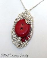 Red Coral Pendant by blackcurrantjewelry