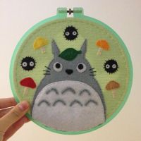 Totoro Embroidery Hoop by cloudy-days95