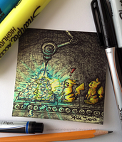 Sticky Note: Pikachu Turned to Bunnies by OdieFarber