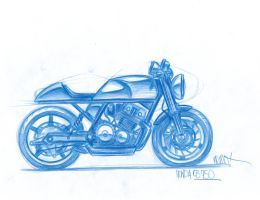 Cafe Racer CB750 sketch by NemoJunglist