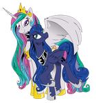 Luna and celestia by Brunursus