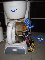 Sora and Mr. Coffee by Brixyfire