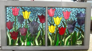 Stained Glass Mosaic Tulips by reflectionsshattered