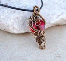 Red crystal heart wire wrapped pendant by IanirasArtifacts