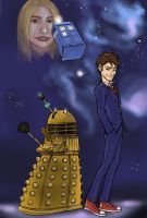 The Doctor, a Dalek and Rose by virgiliArt