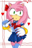 Amy rose: in school uniform by Evino-chan
