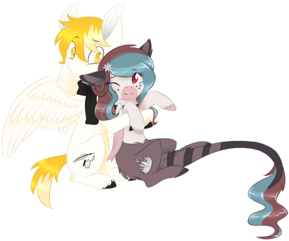 Commission [White Feather and Celiaurore] - Hug by Emypony