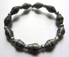 Weathered Grey and Silver Paper Bead Bracelet by Fallingfreely
