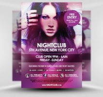 Nightclub Event PSD A5 Flyer Template by quickandeasy1