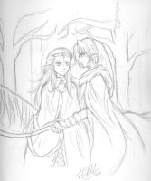 Sketch: Winter Link and Zelda by HyruleMaster