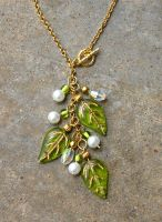 Green Leaf Dangle Necklace by TernFeather