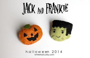 Jack and Frankie: Halloween Brooches by whitefrosty
