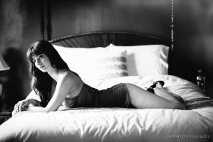 Elix Laying on the Bed -- BW by Amoakk