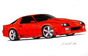 1992 Chevrolet Camaro Z28 IROC-Z Drawing by Vertualissimo