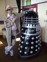 Fifth Doctor with Black Dalek by lunamaxwell