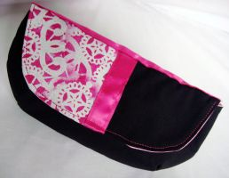 Pink and black clutch purse by salvagedmutiny