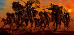 wind, setting sun, warriors by azazel1944