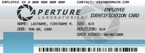 Facebook Cover - Aperture Laboratories ID Card by DJ-Zemar