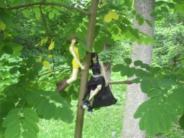 Selphie and Tifa- Tree Chillin by kingdomhearts800