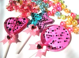 Lollipop necklaces Yum by pinkminx