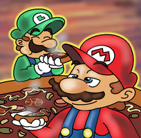 Pizza is the shit by MushroomWorldDrawer