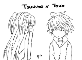 Tsukumo x Toko - lineart by MartyPunk13