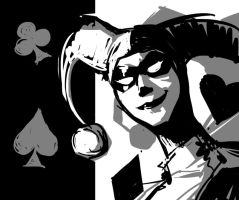 Harley Quinn black and white by Spookyspoots