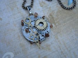 STEAMPUNK NECKLACE Wire Wrapped Vintage Watch and by bcainspirations