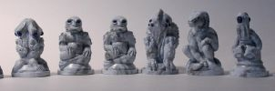 Cthulhu Chess in Marble by BrittaM