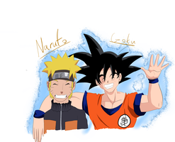 Naruto and Goku by daga000