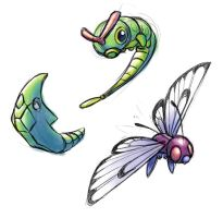 PKMN Caterpie Family by moth-eatn