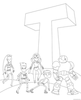 Titan Time! lineart by ColdHeartedCupid