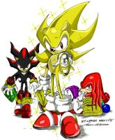 Super Sonic,Knuckles,Shadow by Andoryu-San