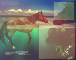 swimming horse by renderedsublime