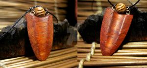 Padauk and Bead Necklace by ValkyrieOfODIN