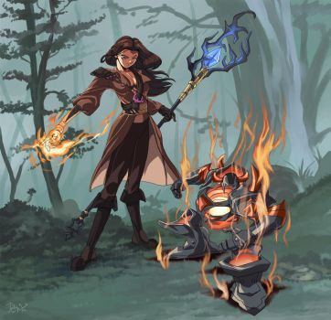 :commission/ Mindy and her fire pet by PhantomStudio-Tommy