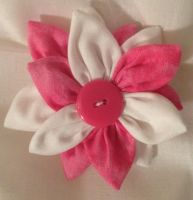 Pink and White Fabric Flower Hair Barrette by jenlucreations