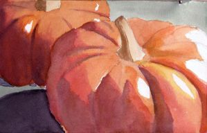 Watercolor Pumpkins by chapel