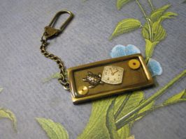 Steampunk Keychain with Turtle by bcainspirations