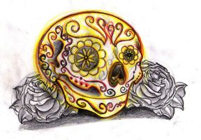 Sugar skull sketch by jerrrroen