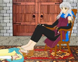 Micaiah dominates Mist with her feet by Ihaccer