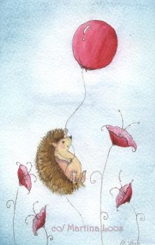 Hedgehoge with Ballon by dragonflywatercolors