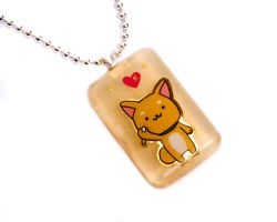 Shiba Inu Golden Pearl Pendant by ZoeQuinn