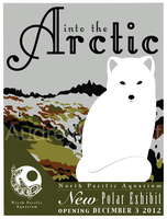 Arctic Fox Vintage Poster by AudreyMillerArt